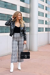 Amber Wilkerson - Bomber Jacket, Bustier, Plaid Crop Pants, Bag, Booties - BOMBER BABY