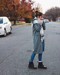 Gabrielle - Doc Marten Black Martens, Topshop Gray Long Coat, Pacsun Medium Wash Skinny Jeans, Uniqlo Black And White Stole - Bundled Up with Nowhere to go