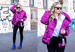 Sunnyinga - Lost Ink Puffer Jacket, Zara Bag, Skinny Jeans, Nakd Boots - Puffer Jacket with blue Boots #colorblocking