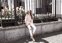 Maria B - Zara Flowing Blouse, Zara White Denim Jeans, Zara Metallic Platform Sandals - Easy Summer Look