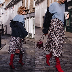 Renia - H&M Bag, H&M Knit, Zara Skirt - Corduroy jacket and geometric print