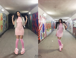 Shady Kleo - Pretty Little Thing Pink Sequin Tassel Dress, Yru Pink Platforms, Pink Thigh Highs - Let's Go Party