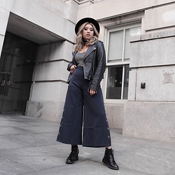 Ingrid Siadari - Zaful Striped Culottes, Asos Boots, Zara Leather Moto - IG: @ingridlikesyou