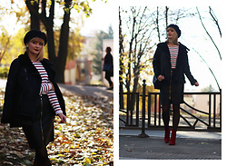 Ana Vukosavljevic - Tom Tailor Jacket, Tom Tailor Blouse, Tom Tailor Skirt, Ego Ankle Boots, Picard Bag, New Yorker Beret - How To Wear A Leather Skirt?