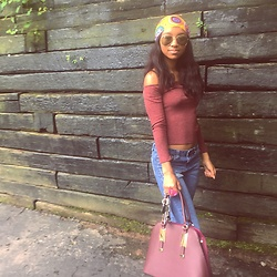 Daisy Mitchell - Charlotte Russe Burgundy Off The Should Top, Tj Max Blue Distress Jeans, Aldo Burgundy Purse - Lively feels