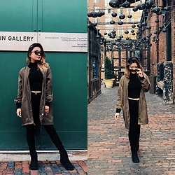Abiela Cayas - Timberland Boots, Forever 21 Long Bomber Jacket - Fall Fashion in the city