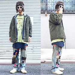@KiD - Fake Fur Cap, Blue Red Butterfly Military Jacket, Rvca Chemical Denim Parka, Nirvana Incesticide, Levi's® Remake Jeans, Vans Marc Jacobs - JapaneseTrash245
