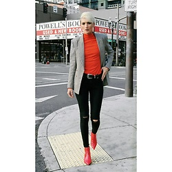 Jessica Hayes - Zara Boots, Urban Outfitters Belt, H&M Checked Blazer, H&M Red Turtleneck With Shoulder Pads, Asos Jeans, Forever 21 Earrings - Checked Out