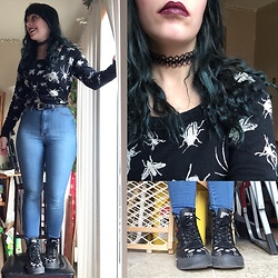 Amethyst . - T.U.K. Footwear Cat Boots, Hot Topic Bug Sweater, Vibrant High Waisted Jeans - Everyday feels like Bugday.