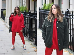 Claudia Villanueva - Missguided Jacket, Bershka Sweatshirt, Pull & Bear Pants, Forever 21 Shoes - Red is my new lucky color