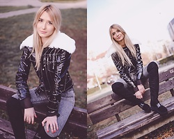 Sofija Surdilovic - Zaful Shiny Collar Jacket, Gamiss Long Black Boots - Shine and rock!
