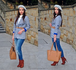 Natalia Uliasz - Mohito Beret With Pearls, Twinkledeals Blazer, Rosegal Body, Bershka Jeansy, Deezee.Pl Boots, Wittchen Bag - Checked blazer