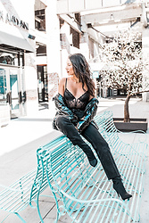 Alexandra Lord - Forever 21 Lace Bodysuit, Forever 21 Puffer Jacket, Levi's® Faded Jeans, Sock Booties - ALL BLACK