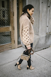 Kim Seidensticker - I Love Mr Mittens High Neck Sweater, Marc Jacobs Snapshot Bag, Vince Stirrup Pants, Via Spiga Nude Heels - Sweater Weather