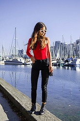 Maria P - Topshop Red One Shoulder Bodysuit, Topshop Black Skinny Jeans, Aliexpress Studded Ankle Boots - Seeing Red