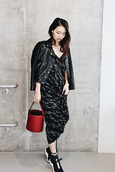 Joy Li - Allsaints Leather Jacket, Nordstrom Slip Dress, Stella Mccartney Sock Sneaker - Black and red