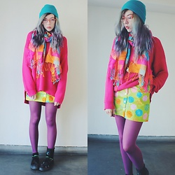Candy Thorne - H&M Sweater, Handmade By Me Skirt, Thai Market Scarf - Muted, subtle, subdued