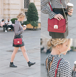 Cristina Siccardi - H&M Gingham Patterned Blouse, H&M Leather Skirt, Pimkie Black Leather Chelsea Boot, Accessorize Burgundy Bag - Glam Gingham