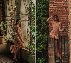 Mandee Rae - Socialite Pink Lace Maxi Dress, Gladiator Sandals, Handmade Earrings - Take me to your hideaway