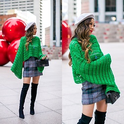 Sasa Zoe - Sweater, Plaid Skirt, Hat Attack, Kendra Scott, Otk Boots, Bag - HOLIDAY GREEN