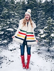 Sydney Hoffman - Hudson's Bay Winter Scarf, Hunter Red Rubber Boots, Hudson's Bay Winter Hat - Winter Wonderland