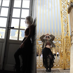 Caitlyn Sway - Long Sleeve Crop Top, High Low Skirt, Leopard Print Jacket - Right At Home At The Palace of Versailles
