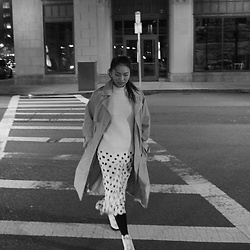 Joy Li - Mango Oversized Trench Coat, Stylenanda Poka Dot Skirt, Mango Sweater - Trench #1