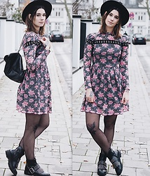 Nina Wirths - H&M Hat, Missguided Backpack, Asos Dress, Topshop Tights, Missguided Shoes - Perfect grunge outfit