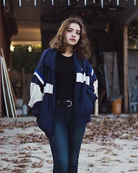 Gabrielle - Fila Vintage Jacket, Forever 21 Black Bodysuit, Free People Dark Wash Jeans, H&M Black Belt W/ Silver Buckle - Something Old, Something New
