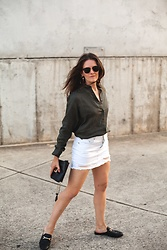 Jenelle Witty -  - Khaki Olive and White Denim Mini