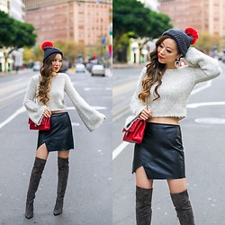 Sasa Zoe - Beanie, Sweater, Earrings, Skirt, Boots, Bag - HOLIDAY POM POM