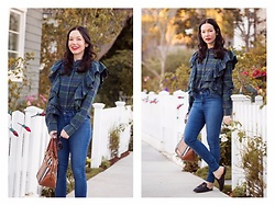 Lisa Valerie Morgan - Nordstrom Plaid Blouse, Mott & Bow Jeans, Gucci Loafers, Burberry Bag - Back at Plaid Again