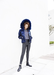 Lina Lee - Slash Dash Down Jacket, Comme Des Garçons Stripe Tee - Winter is here...