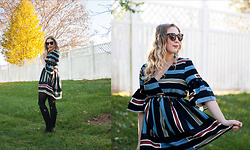 BG by Christina L - Stylewe Striped Bell Sleeve Dress - Striped Bell Sleeve Dress + Happy Dressember!