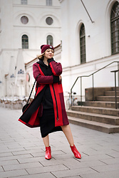 Esra E. - One More Story Color Block Coat, Zara Red Pointy Boots - Color blocking