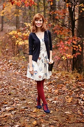 Bleu Avenue Ofbleuavenue - Amordress Balloon Print Dress, Modcloth Ruby Tights, Modcloth Charter School Cardigan In Navy - Beautiful Balloon