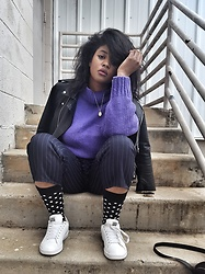 Yasha Aine - Yasha Custom Pinstripe Trousers, Yasha Vintage Purple Cableknit Sweater, Adidas, Happy Socks Polka Dot, Zara Leather Motor Jacket - Pop Up Saturday