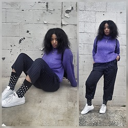Yasha Aine - Zara Leather Jacket, Yasha Pinstripe Trousers Custom, Adidas Sneakers, Happy Socks Polka Dot, Yasha Vintage Purple Cable Knit Sweater - Pop up saturday part 2