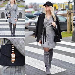 Natalia Piatczyc - Zaful Checked Dress, Zaful Black Oversized Blazer, Dresslily Overknee Boots, Zaful Black Tote Bag, Zaful Black Cap - Checked dress