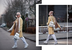 Maria R - Grafea White Backpack, Zara Yellow Coat, Reebok White Sneakers - Winter in Pastel Colors