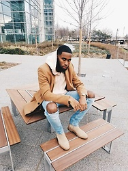 Justin Price - New Look Camel Overcoat, Forever 21 Pink Kimono Hoodie, Ripped Light Wash Skinny Jeans, New Republic Man Houston Suede Chelsea Boots - Overcoats + Hoodies? ✅ (@subjectivefashion)