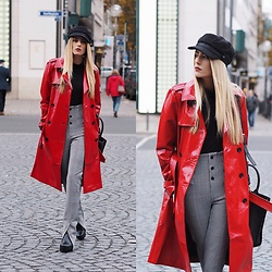 Laura Simon - Asos Red Coat, Zara High Waist Pants, Anthropologie Black Hat, Buffalo Black Boots - Streetstyle Frankfurt