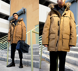 Dominic Grizzelle - H&M Padded Parka, Leather Satchel Santchel, Dr. Martens Oxfords - Parka Season