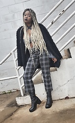 Yasha Aine - Yasha Plaid Trousers Custom, Yasha Soul Top Custom, Yasha Wool Fuzzy Jacket Custom - Metal Bae