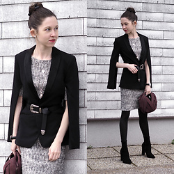 Claire H - H&M Blazer, Mango Dress, Perrin Paris Ball Bag - Upcoming office party