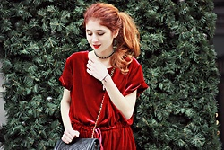 Maria Chamourlidou - 404 Not Found Dress, Chanel Bag - Red velvet