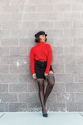Alexandra Lord - Forever 21 Turtleneck Sweater, Choies Asymmetrical Jean Skirt, Forever 21 Mesh Boots, Goorin Brothers Fiddler Cap - SEASON'S GREETINGS ❄️