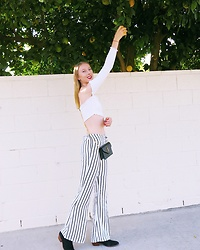 Katie Van Daalen Wetters - Fashion Nova Off The Shoulder, Revolve Striped Pants, Sam Edelman Suede Boots, Saint Laurent Wallet On Chain - Striped Pants
