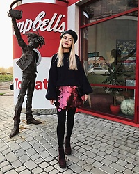 Anna Pogribnyak - Na Kd Sweater, Motel Rocks Skirt, Leather Beret, Boots - Sequin skirt