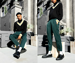 Dominic Grizzelle - Forever 21 Striped V Neck Knit Sweater, Forever 21 Cropped Pleated Trousers, Tuk Vegan Pointed Creeper, H&M Mock Neck Zip Sweater - Lets Have a Sit Down